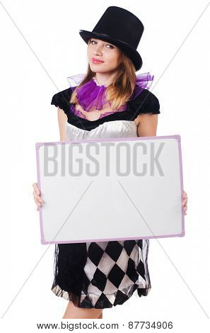 Girl in harlequin costume isolated on white