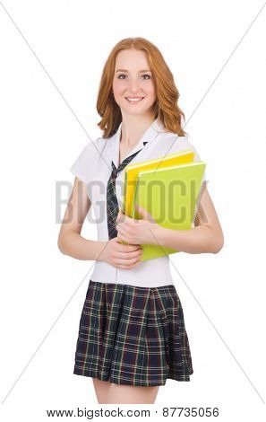 Young student female isolated on white
