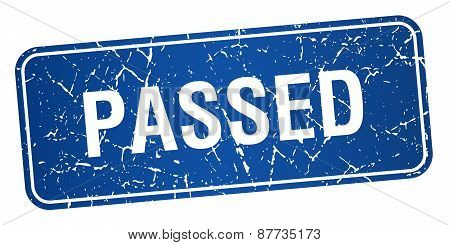 Passed Blue Square Grunge Textured Isolated Stamp