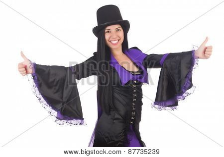 Woman in black and violet dress isolated on white