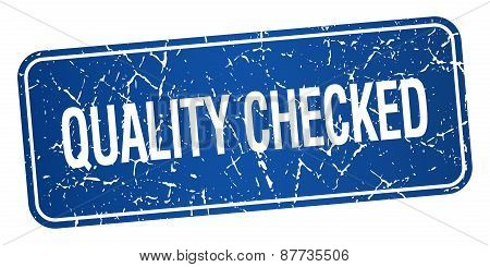 Quality Checked Blue Square Grunge Textured Isolated Stamp