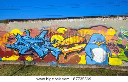 Colorful Graffiti With Text Elements And Angry Penguin