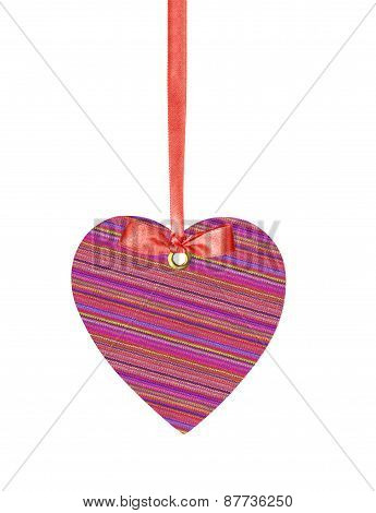 Textile Tag Label Heart With Ribbon Bow Isolated On White Background