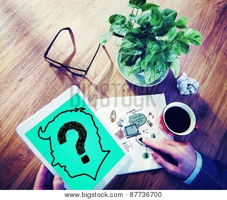 Human Brain Thinking Confusing Question Mark Concept