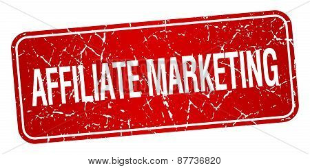 Affiliate Marketing Red Square Grunge Textured Isolated Stamp