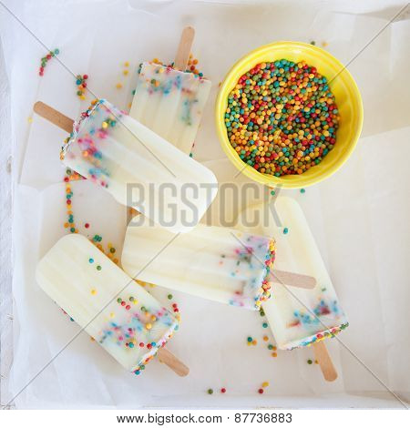 Frozen Popsicles With Sprinkles