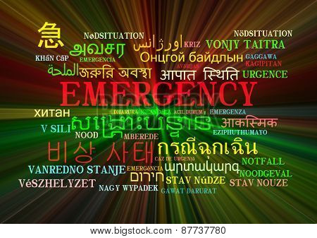 Background concept wordcloud multilanguage international many language illustration of emergency glowing light