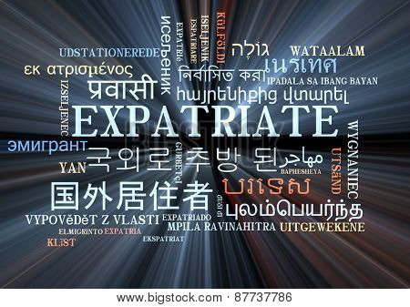 Background concept wordcloud multilanguage international many language illustration of expatriate glowing light
