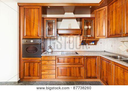Architecture, classic apartment furnished, domestic kitchen