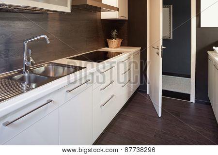 Architecture, modern house, domestic kitchen view