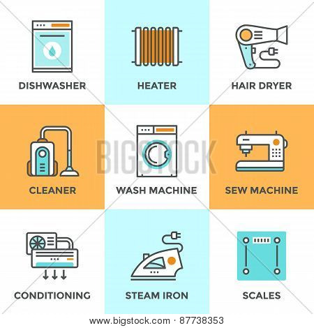 Home Appliances Line Icons Set