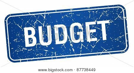 Budget Blue Square Grunge Textured Isolated Stamp
