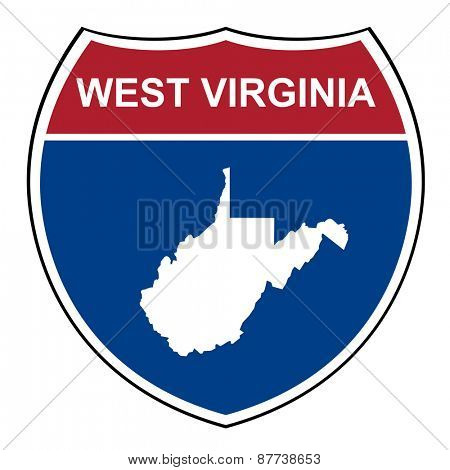 West Virginia American interstate highway road shield isolated on a white background.