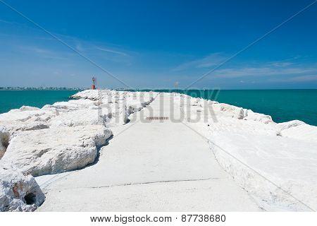 Stone Pier in Rimini, Italy