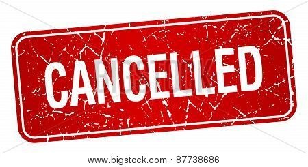 Cancelled Red Square Grunge Textured Isolated Stamp