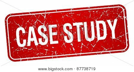 Case Study Red Square Grunge Textured Isolated Stamp