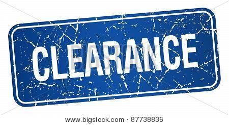 Clearance Blue Square Grunge Textured Isolated Stamp