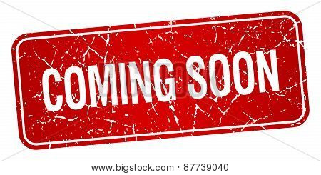 Coming Soon Red Square Grunge Textured Isolated Stamp