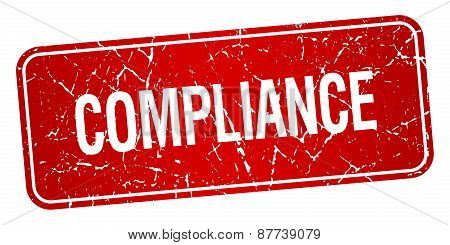 Compliance Red Square Grunge Textured Isolated Stamp