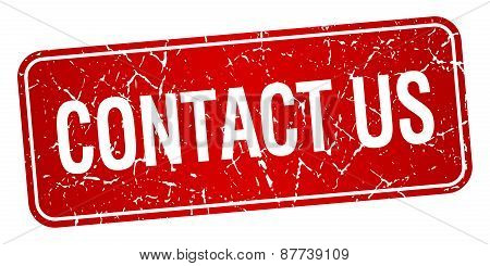 Contact Us Red Square Grunge Textured Isolated Stamp