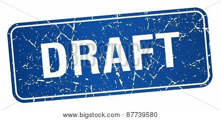 Draft Blue Square Grunge Textured Isolated Stamp