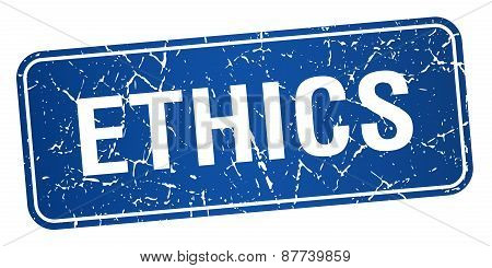 Ethics Blue Square Grunge Textured Isolated Stamp