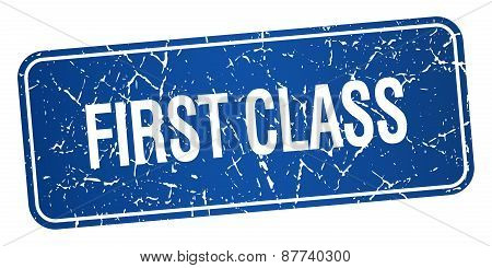 First Class Blue Square Grunge Textured Isolated Stamp