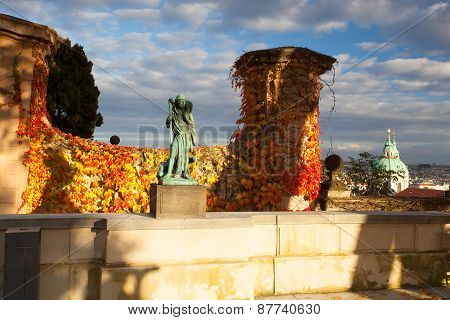 Autumn In Paradise Garden Near Prague Castle.
