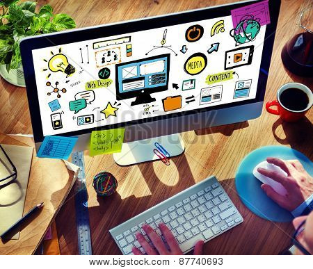 Businessman Web Design Digital Devices Working Concept