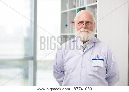 Aged scientist or doctor
