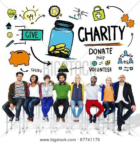 People Team Togetherness Give Help Donate Charity Concept