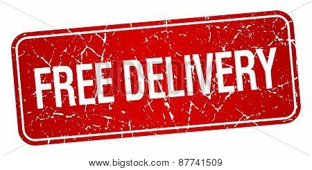 Free Delivery Red Square Grunge Textured Isolated Stamp