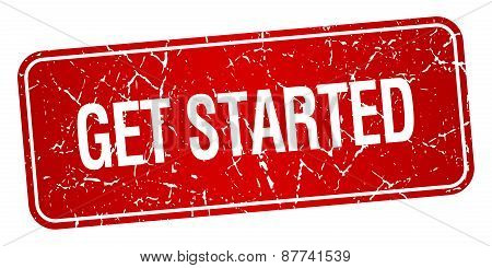 Get Started Red Square Grunge Textured Isolated Stamp