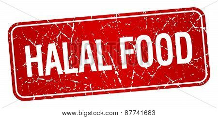 Halal Food Red Square Grunge Textured Isolated Stamp