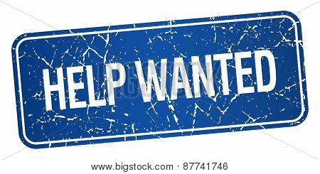 Help Wanted Blue Square Grunge Textured Isolated Stamp