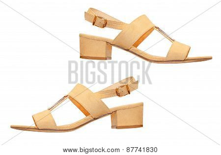 The Pair Of Beige Woman Sandals.isolated.