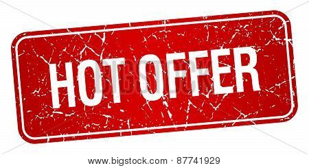 Hot Offer Red Square Grunge Textured Isolated Stamp