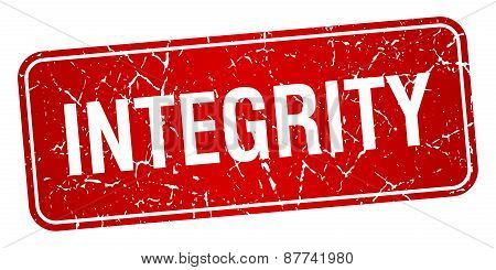 Integrity Red Square Grunge Textured Isolated Stamp