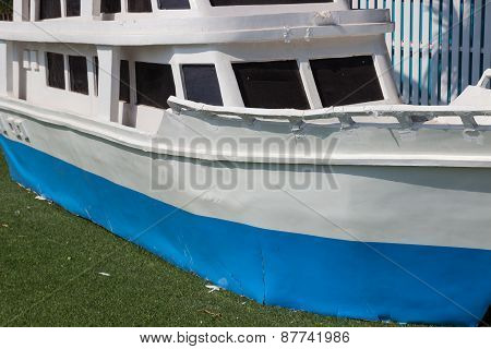 Old Blue And White Model Ship