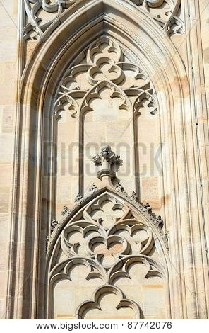 Tracery On Wall Of St. Vitus Cathedral In Prague, Czech.