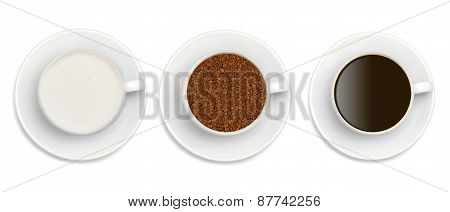 Granules Of Instant Coffee, Sugar And Coffee In White Cup Isolated On White