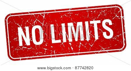 No Limits Red Square Grunge Textured Isolated Stamp