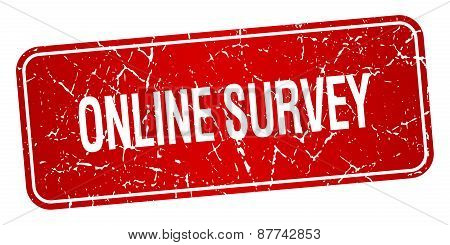 Online Survey Red Square Grunge Textured Isolated Stamp