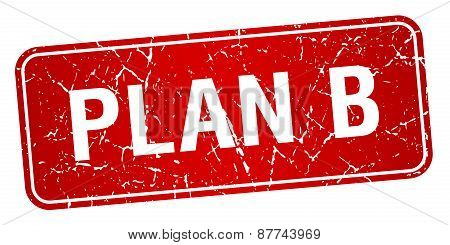 Plan B Red Square Grunge Textured Isolated Stamp