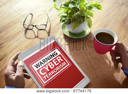 Warning Cyber Terrorism Digital Device Wireless Browsing Concept