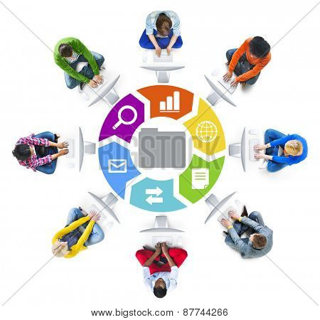 People in a Circle Using Computer with Data Concept