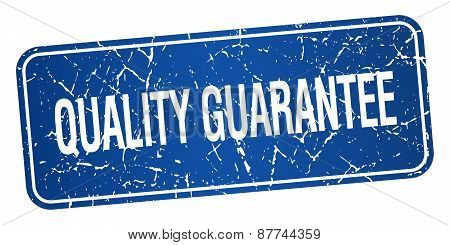 Quality Guarantee Blue Square Grunge Textured Isolated Stamp