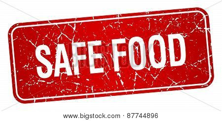 Safe Food Red Square Grunge Textured Isolated Stamp