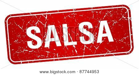 Salsa Red Square Grunge Textured Isolated Stamp