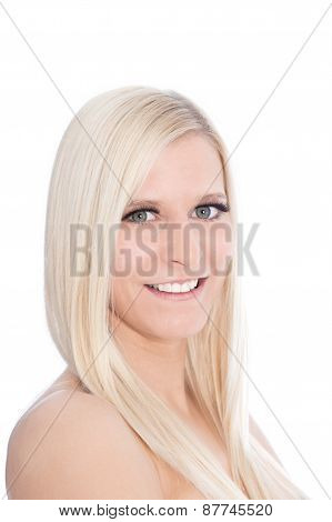Close Up Of Blond Woman Looking Sideways At Camera In Studio With White Background